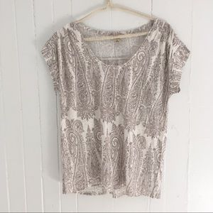 NWT Lucky Brand Paisley Print Knit Top